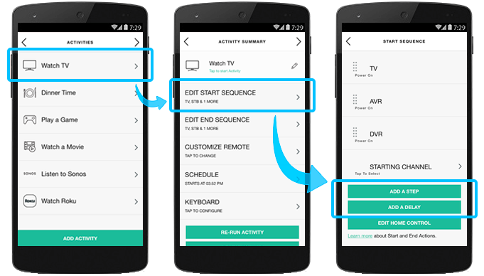 HarmonyApp - start and leave actions