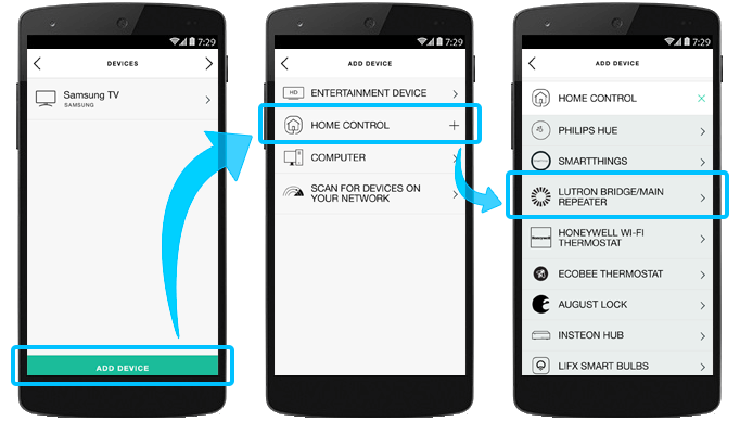 Harmony app select devices