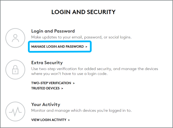 Manage Login and Password